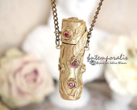 Bronze perfume holder pendant, corundum, OOAK, SAPE42