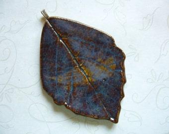 Dark Nights Pottery Leaf Pendant