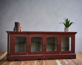 Reclaimed Antique Indian Warm Industrial Farmhouse Wood Glass Door Sideboard Buffet Media Console