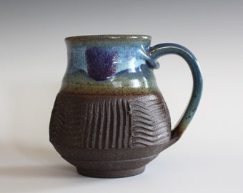 Coffee Mug, 14 oz, unique coffee mug, handmade cup, handthrown mug, stoneware mug, wheel thrown pottery mug, ceramics and pottery
