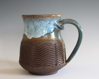 Pottery Mug, 12 oz, unique coffee mug, ceramic cup, handthrown mug, stoneware mug, wheel thrown pottery mug, ceramics and pottery