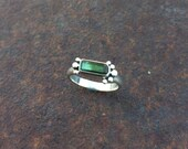 Reserved For Allison - Green Tourmaline Crystal & Sterling Silver Ring - Green Tourmaline Ring