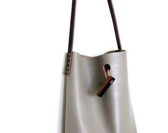 mini.malist leather tote bag 'stone'