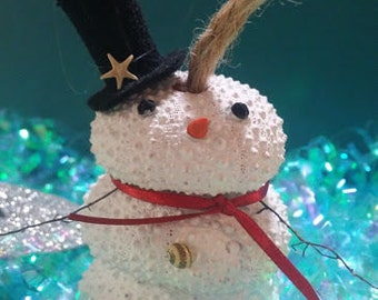 Coastal Tree Ornaments Pink White Sea Urchin Snowman Shell Nose Brown Twig Sea Fan Arms, Top Hat, Shell Buttons Christmas Holiday Decorating