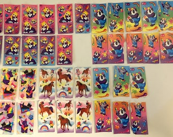Lisa Frank Sticker Lot Painter Panda Bear and Rainbows, Kittens and Bubbles, Horses and Butterflies, Scotty Dogs