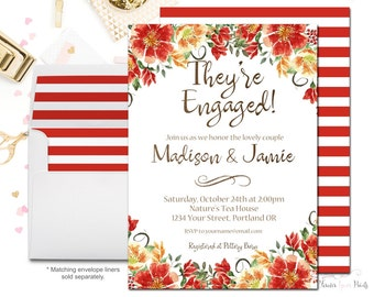 They're Engaged! Engagement Party Invitation, Fall Bridal Shower Invitation, Autumn Bridal Shower Invite, Engagement Invitation, Flowers