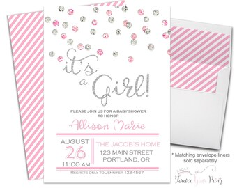 PINK AND SILVER Glitter Baby Shower Invitation - It's A Girl Baby Shower Invitation - Confetti Baby Shower - Glitter Baby Shower - Modern