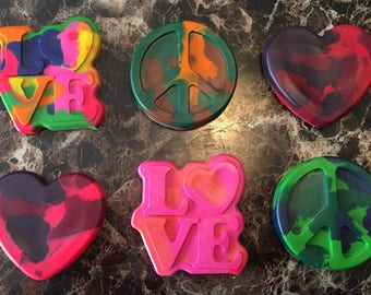 Peace, Love, and Heart Crayons