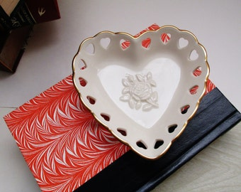 Lenox Rose Heart Dish, Cottage Chic Bowl, Rose Bowl, Romantic Decor