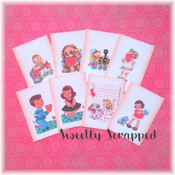 VALENTINE Pocket Letter Journal Cards, Vintage, 2 1/2 by 3 1/2, Scrapbooking, Cardmaking, Journaling, Love, Girl, Boy, Puppy Dog, Mini Album