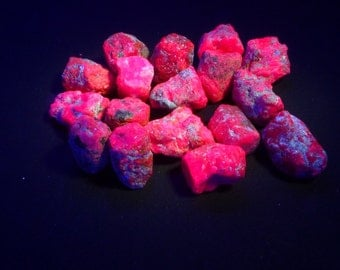 Rough Ruby UV Glow Ruby. Strong Red fluorescence. Glows under UV Light.  Raw and Edgy.  1 pc.  11-13 mm  (RU1233)
