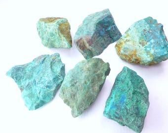 Rough Chrysocolla. Blue Green Chrysocolla. Blue, Chunky, Chrysocolla Rough. African.  3 Pcs. 30mm +/- CHY114