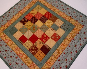 Primitive Quilted Table Topper, Civil War Reproduction Quilted Table Runner, Handmade Table Topper, Patchwork Quilted Table Topper, Teal