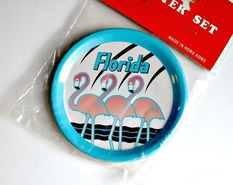 Vintage  Flamingo Coasters Florida Souvenir  Barware New Old Stock in Original Plastic Package