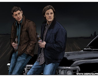 Sam and Dean Winchester Portrait Art Poster - Artwork inspired by Supernatural - The Bro Moment