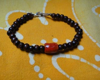 Red Coral Prayer Bead Bracelet Tribal Gift Mens Womens Kids Jewelry