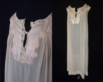 Peach Sheer Silk Appliqued Floral Vintage 1950's Women's Babydoll Nightie Nightgown L XL