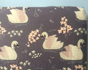 Baby Girl Crib Bedding, Organic Crib Sheet, Swan Crib Bedding, Gray and Blush Crib Sheet, Swan Nursery Bedding
