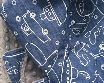 Baby Boy Blanket, Cars, Trucks, Planes Blanket, Boy Crib Bedding, Minky Blanket, Navy Nursery, Toddler Blanket,  Made to Order, Personalized
