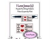 ON SALE Bead Pattern Peyote(Pen Wrap/Cover)-I Love Jesus (2)