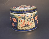 Vintage Red and Blue Floral Biscuit Tin Made in England – Round Delightful Pattern Perfect Storage Box For Treasures