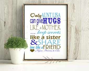 Personalized Aunt Art Print - Digital JPEG file - Any Size