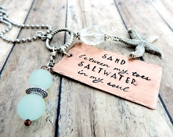 Beach Necklace - Long Charm Necklace - Beach Charm Necklace - Beach Quote Necklace - Beach Jewelry - Ocean Necklace - Starfish Necklace