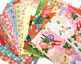 Japanese rice and origami paper ephemera, paper with beautiful golden print set 22