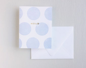 Letterpress Card- Dots: Hello