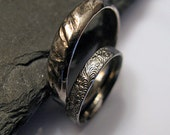 Black Rhodium Wedding Band Set Gothic Ring Rustic Wedding Ring Set Unique Wedding Band Mens Wedding Band Black Wedding Band Set Oxidized