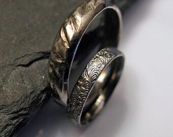 Black Rhodium Wedding Band Set Viking Ring Rustic Wedding Ring Set Unique Wedding Band Mens Wedding Band Black Wedding Band Set Oxidized