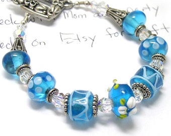 Teal Blue Lampwork Bracelet Sterling Silver with Swarovski Crystal