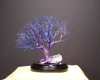 Wire Tree Of Life sculpture, indigo Blue Grand Old Tree, Quartz Crystal Cluster, wood base, handmade miniature tree art, Christmas gift, 5""