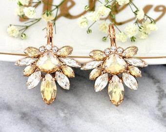 Champagne Earrings, Champagne Drop Earrings, Bridal Rose Gold Earrings, Bridal Champagne Jewelry,Bridesmaids Earrings, Bridal Drop Earrings