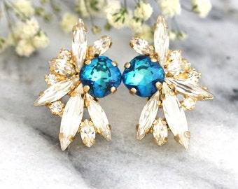 Blue Earrings, Blue Swarovski Crystal Earrings, Horizon Blue Earrings, Bridal Cluster Earrings,Gift For Her, Bridesmaids Earrings,Blue Studs