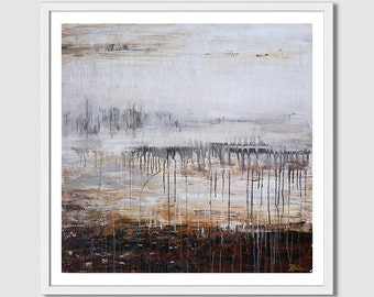 Modern Home Decor brown gray, Ivory,large painting,large wall art abstract painting,original painting,acrylic painting