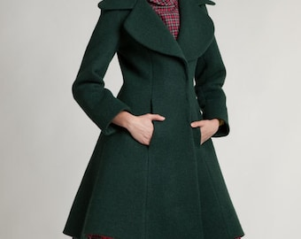 Long wool coat Plus size wool coat Tailored winter coat Green winter jacket Princess coat Winter coat with pockets Womens midi coat Handmade
