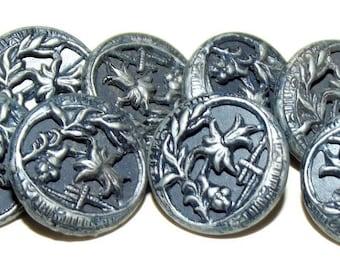 Antique Buttons ~ Metal Button Set Original Blue Tint Great Floral Motif