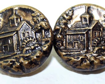 Antique Metal Buttons House & Waterwheel