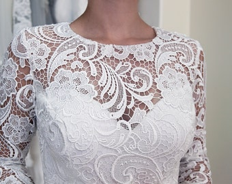 Guipure Lace Wedding Dress, Civil Wedding Dress, Reception Dress, Short Wedding Dress, White Lace Dress