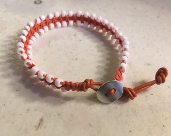 Orange Bracelet - Macrame Jewelry - Leather - Fashion - Trendy - White Seed Beads - Silver Button - UT - Longhorns