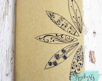 Flower Petals Hand Stamped & Embossed A6 Journal Pocket Notebook made from 100% Recycled Paper