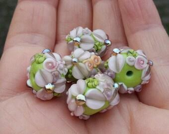 Lampwork Beads / loose beads /  Daisies / Lampwork Rondelle Bead Set / SRA / OOAK / jewelry supplies / jewelry making