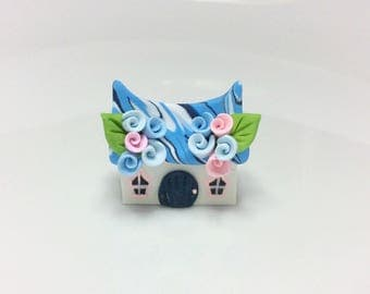 Miniature fairy cottage in blue and pink handmade from polymer clay