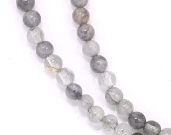 Gray Cloudy Quartz Beads - 4mm Round