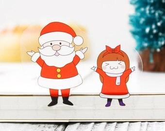 6 Sheets Korea Pretty Sticker Set - Deco Translucent Sticker Set - Santa Claus And Girl