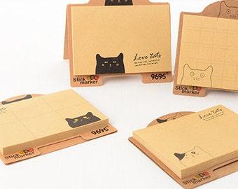Cat Kraft Paper Notes Sticker- Stick Note Notepad Mini Notepad Post It Sticker