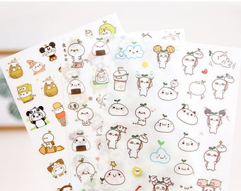 6 Sheets Korea Pretty Planner Stickers Set - Deco Translucent Sticker Set