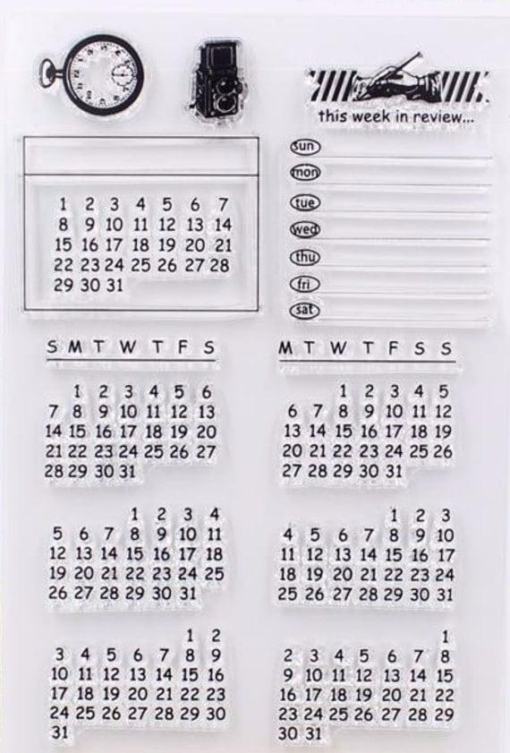 Calendar Sheet Rubber : Rubber stamps travel calendar stamp for traveller s