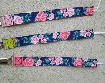 Rose bouquet pacifier clip-you choose the accent color